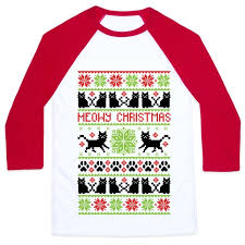 meowy christmas meowy christmas cat sweater pattern baseball lookhuman