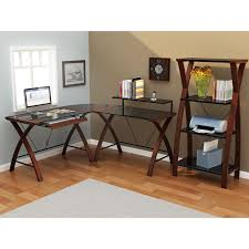 simple brown wooden computer desk with rolling out keyboard tray