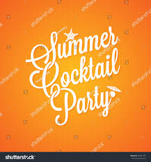 vintage cocktail party illustration summer cocktail party vintage lettering background stock vector