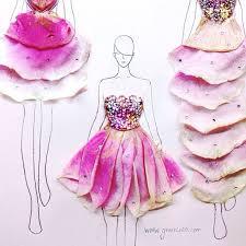 artist turns real flower petals into fashion design illustrations