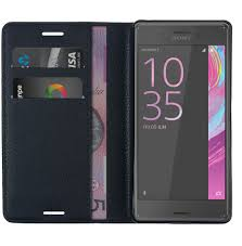 leather wallet case for sony xperia x performance black