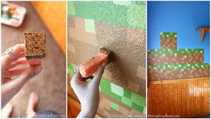 diy sponge painted minecraft walls the rustic willow