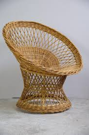 vintage wicker basket swivel chairs set of 6 for sale at pamono