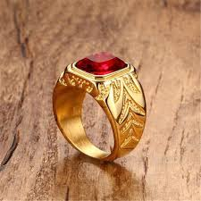 large finger rings images Men rings gold color big red stone rings for men jewelry rock punk jpg
