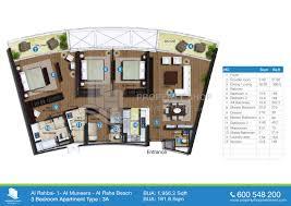 3 bedroom flat plan drawing al rahba al muneera al raha beach