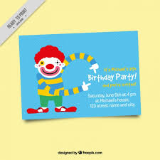 wedding invitation clown birthday greeting card vector show clowns birthday party invitation with clown vector premium