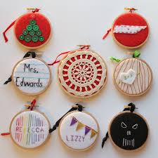 eight embroidery hoop ornaments for everyone on your