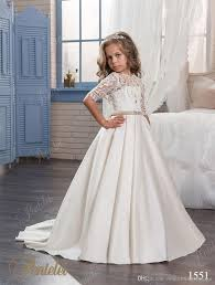 cheap flower girls dresses with half sleeves 2017 pentelei pearls
