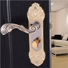 Interior Door Locks Bronze Mechanical Handle Interior Door Locks Set Safe Gold Shiny 91 01