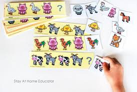 farm math activities with free printable pattern cards