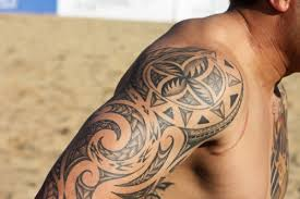 awesome tribal tattoos on shoulder with polynesian style tattoo
