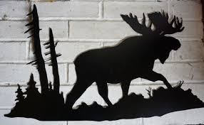 Black Forest Home Decor Moose In Forest Black Cut Metal Wall Art Lodge Log Cabin Home
