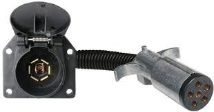 6 way round pin to 7 way flat pin connector adapter center pin