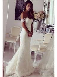 2017 modest lace sweep train off the shoulder mermaid wedding