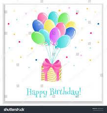 bright birthday greeting card balloons gift stock vector 439462744