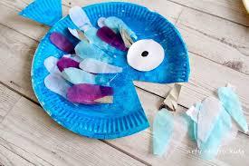 paper plate rainbow fish craft arty crafty kids