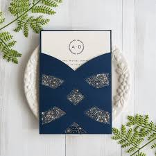 wedding invitation pocket navy blue laser cut pocket wedding invites swws027