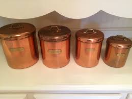 full set copper canisters featuring brass knobs flour sugar zoom
