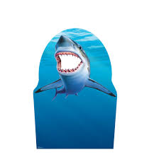 life size great white shark mural wall decal shark stand in