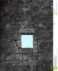 Stonework Old Window In Stone Work Wall Leaded Glass Stock Photo Image