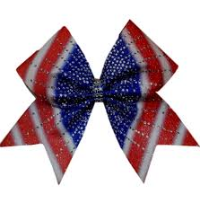white and blue bows holographic cheer bows