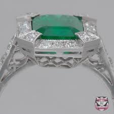 jewelry rings art deco emerald engagement ring