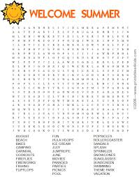 welcome summer word search printables for kids u2013 free word