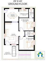 2 bhk floor plan for 45 x 25 plot 1125 square feet 125