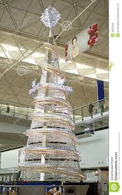 giant crystal christmas tree at hk airport editorial image image