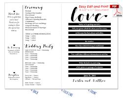 Traditional Wedding Program Love Story Wedding Program Fan Warm Colors
