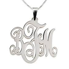 3 initial monogram necklace sterling silver onecklace monogram necklace 3 initial monogram