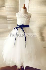 keyhole ivory lace tulle wedding flower dress navy blue sash