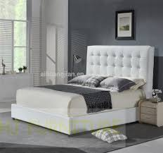 White Leather Bed Frame King White Colour Genuine Leather Frameplendid With Crystals Bedside