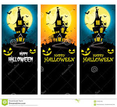 vector creepy halloween vertical banner template with mansion