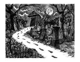 graveyard clipart black and white graveyard path by colin richards 7 5x9 5 inch digital print