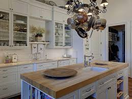 kitchen island hanging pot racks beige wall white countertop drop pendant light kitchen islsink two