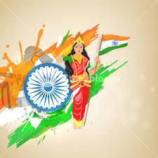 Flag Of Inida Creative Illustration Of Bharat Mata Mother India Holding Indian