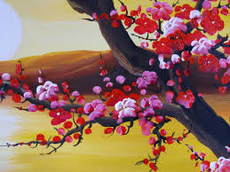 chinese feng shui painting chinese blossom painting