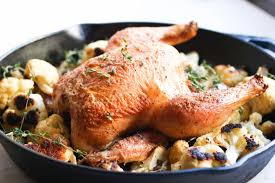 Roast Whole Chicken Easy Garlic Thyme Roast Chicken With Cauliflower Abra U0027s Kitchen