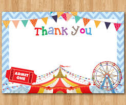 circus thank you note circus theme thank you card boy