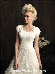 a line square chapel train modest lace wedding dress with short