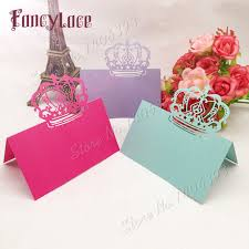 gift cards for wedding 50pcs paper wedding favor gift cards laser cut crown place name