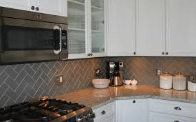 Youringbone Glass Subway Tile Backsplash By Herrin X - Grey subway tile backsplash