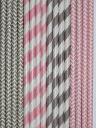 pink and grey baby shower light pink grey paper straws mix stripes chevron diy flags