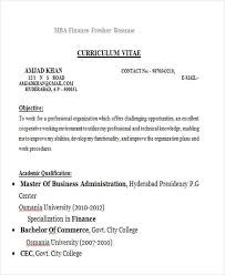 Mba Sample Resume For Freshers by Professional Fresher Resume Mba Finance Fresher 25 Modern