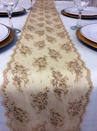 gold lace table runner chagne gold lace table runner 5ft to 10ft by lovelylacedesigns