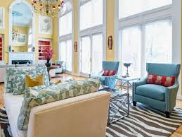 this open cathedral style living room features buttery yellow