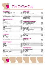 coffee shop menu template menu template 001
