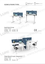 L Shaped Adjustable Height Desk by 3 Legs Triple Motor L Shaped Electric Curved Sit Stand Desk Frame