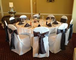 Table And Chair Cover Rentals Charcoal Sashes And Napkins And White Chair Covers Wedding
